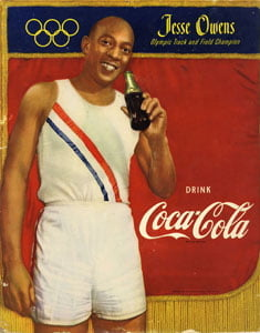 Placas Decorativas Coca Cola Jesse Owens Olympic Retro PDV369