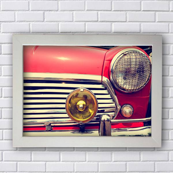 Quadro Decorativo Carro Vermelho Vintage
