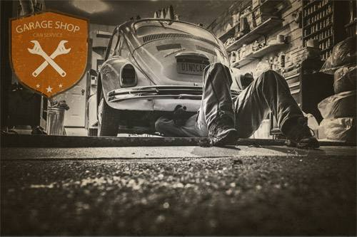 Placa Decorativa Vintage Carros Garage Shop Fusca PDV217