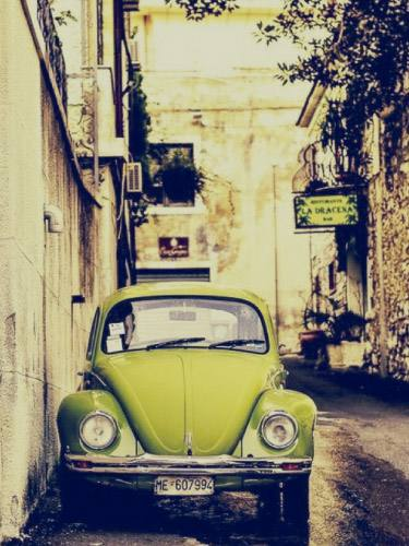 Placa Decorativa Vintage Carros Fusca Amarelo Retro PDV160