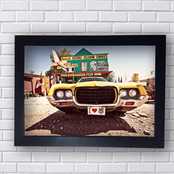 Quadros Decorativo Route 66 Carro Amarelo