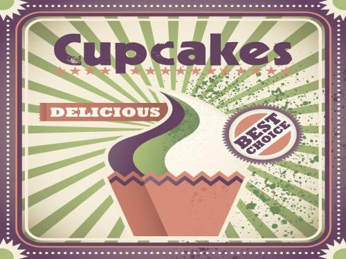 Placa Decorativa Vintage Retro Cupcakes PDV084