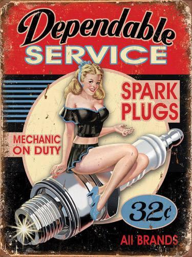 Placa Decorativa Vintage Retro Woman Dependable Service PDV164
