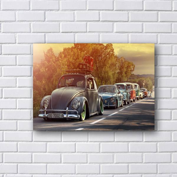 Placa Decorativa Fusca e Carros Vintage