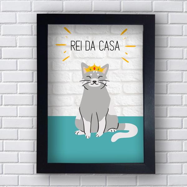 Placa Quadro Decorativo Rei Da Casa: O Gato