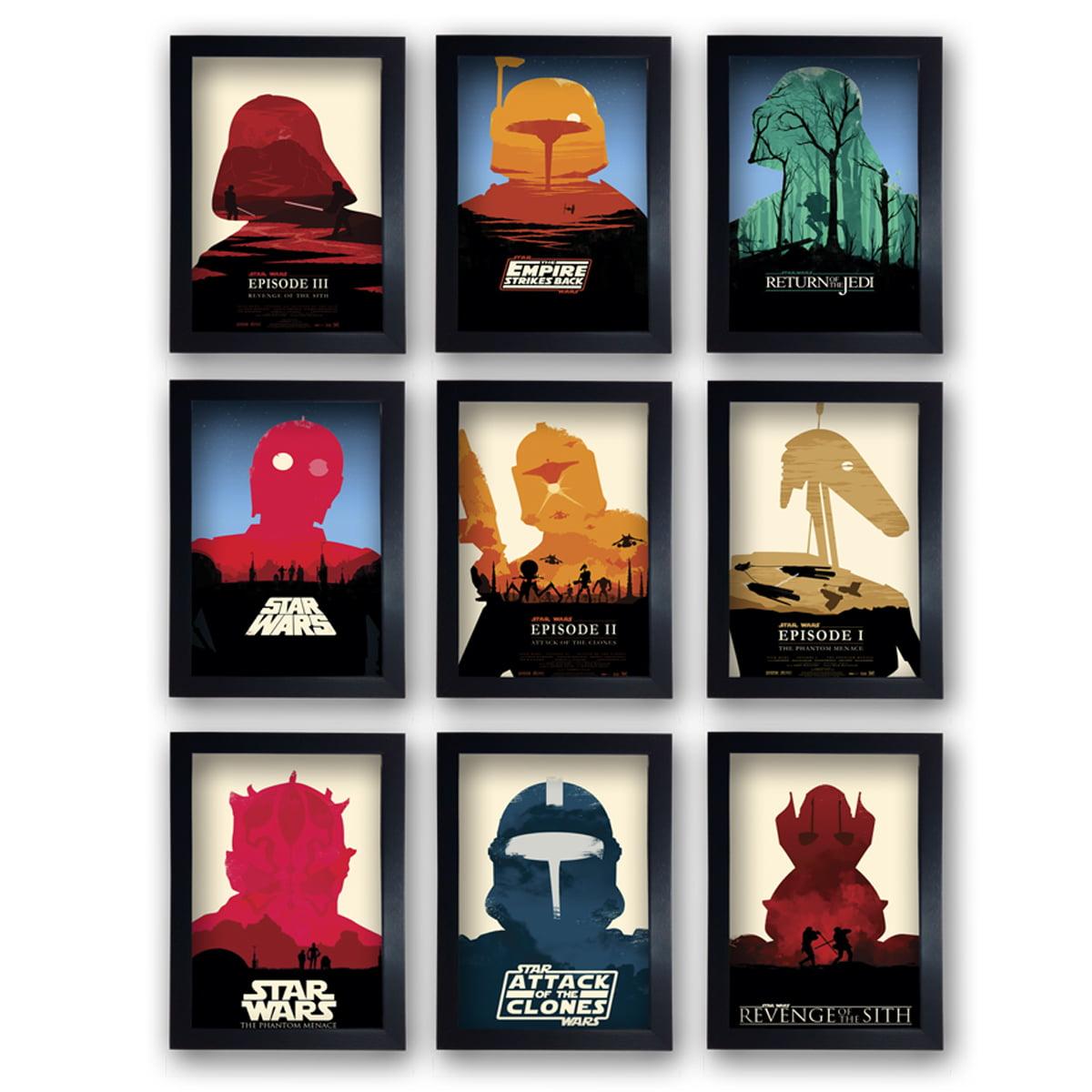 Kit 9 Quadros Star Wars Decorativo Poster Quarto Com Moldura 20x30