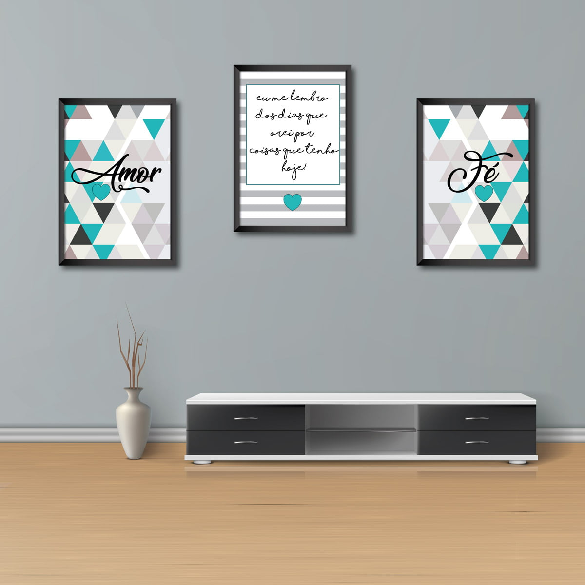 Kit Conjunto 3 Quadros Decorativos Amor, eu me lembro dos dias que orei por coisas  que tenho hoje, Fé, verde com cinza