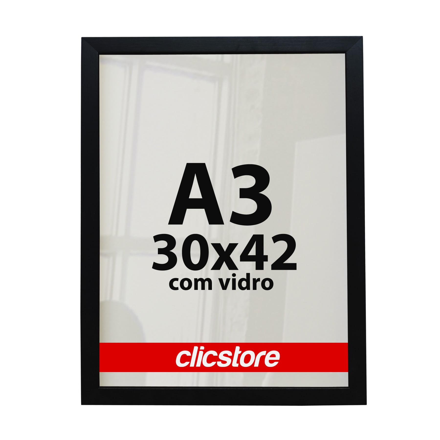 Moldura A3 Para Certificados Diplomas Fotos Com Vidro e Fundo 42X30CM