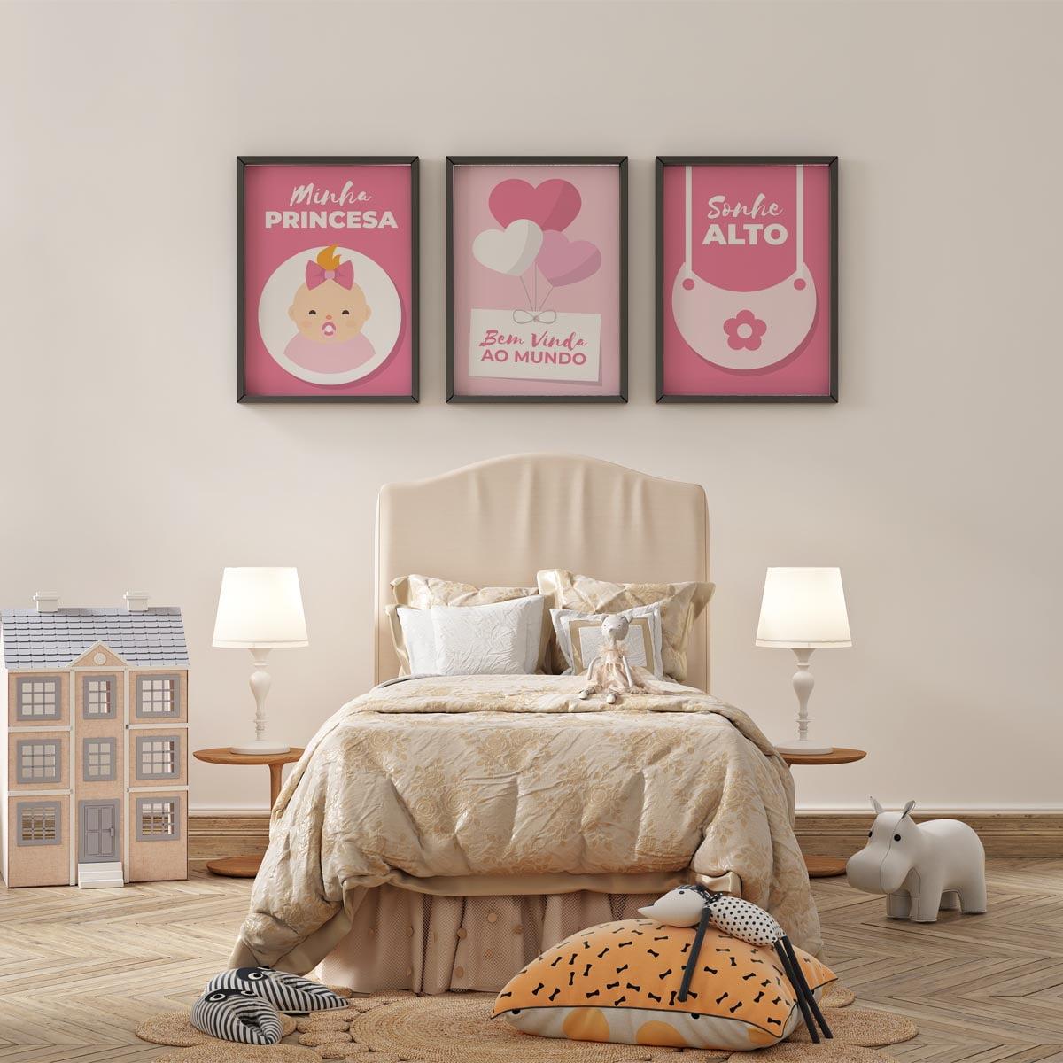 Conjunto De Quadros Decorativos Bem Vindo ao Mundo Minha Princesa Infantil Menina
