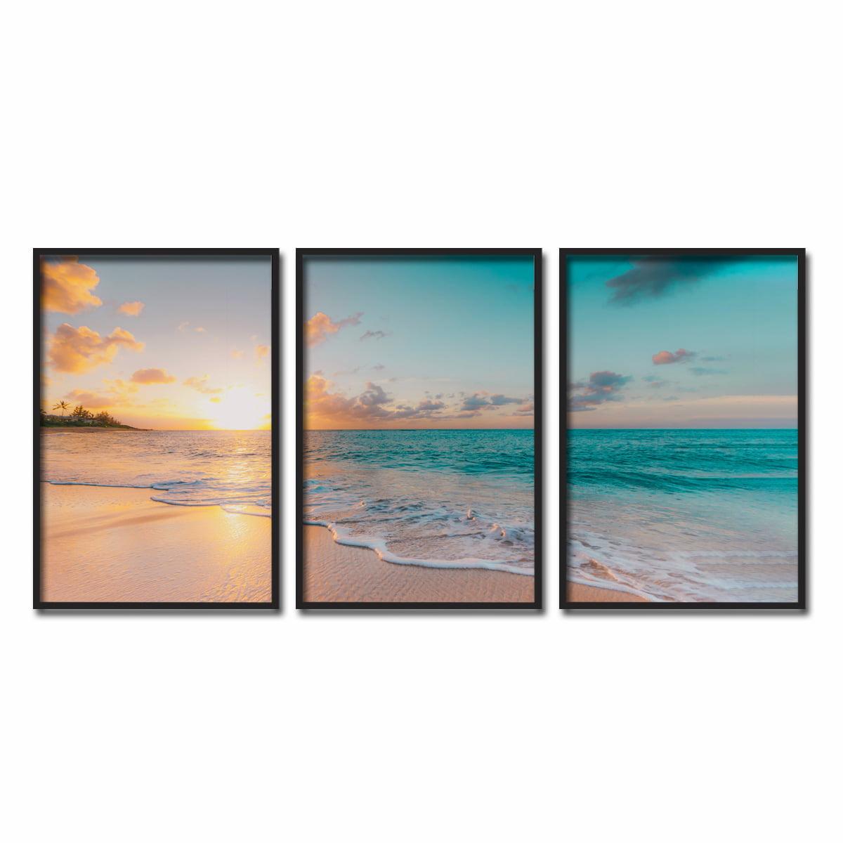 Conjunto de Quadros Decorativos Mar Nascer do Sol