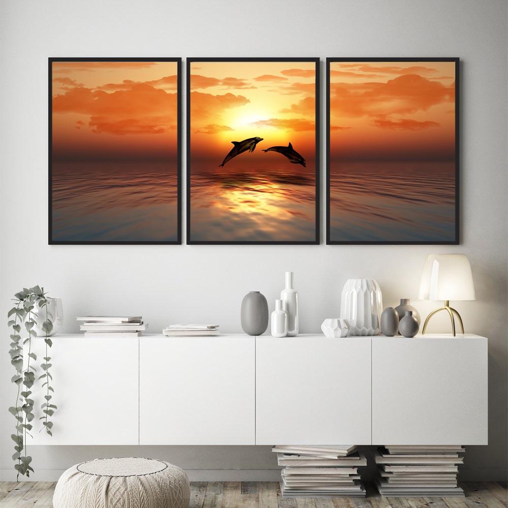 Conjunto De Quadros Decorativos Quarto Sala Mar Golfinhos Por do Sol
