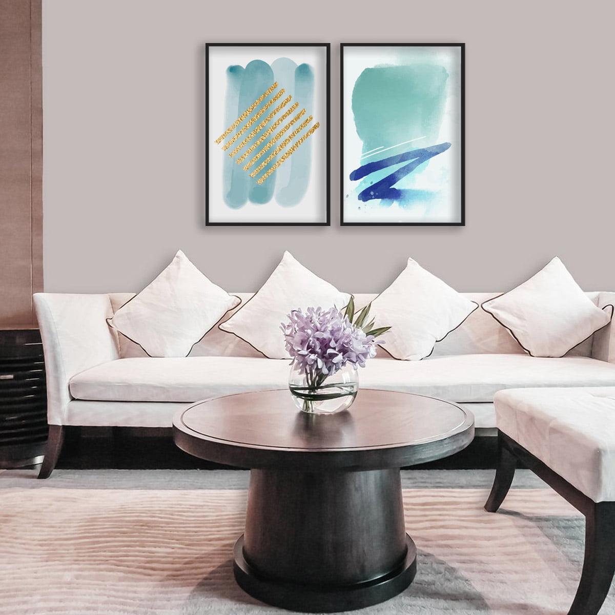 Kit 2 Quadros Decorativos Para Sala Quarto Abstrato Blue Gold