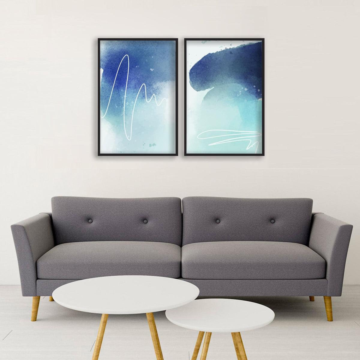 Kit 2 Quadros Decorativos Para Sala Quarto Formas Abstratas Azul