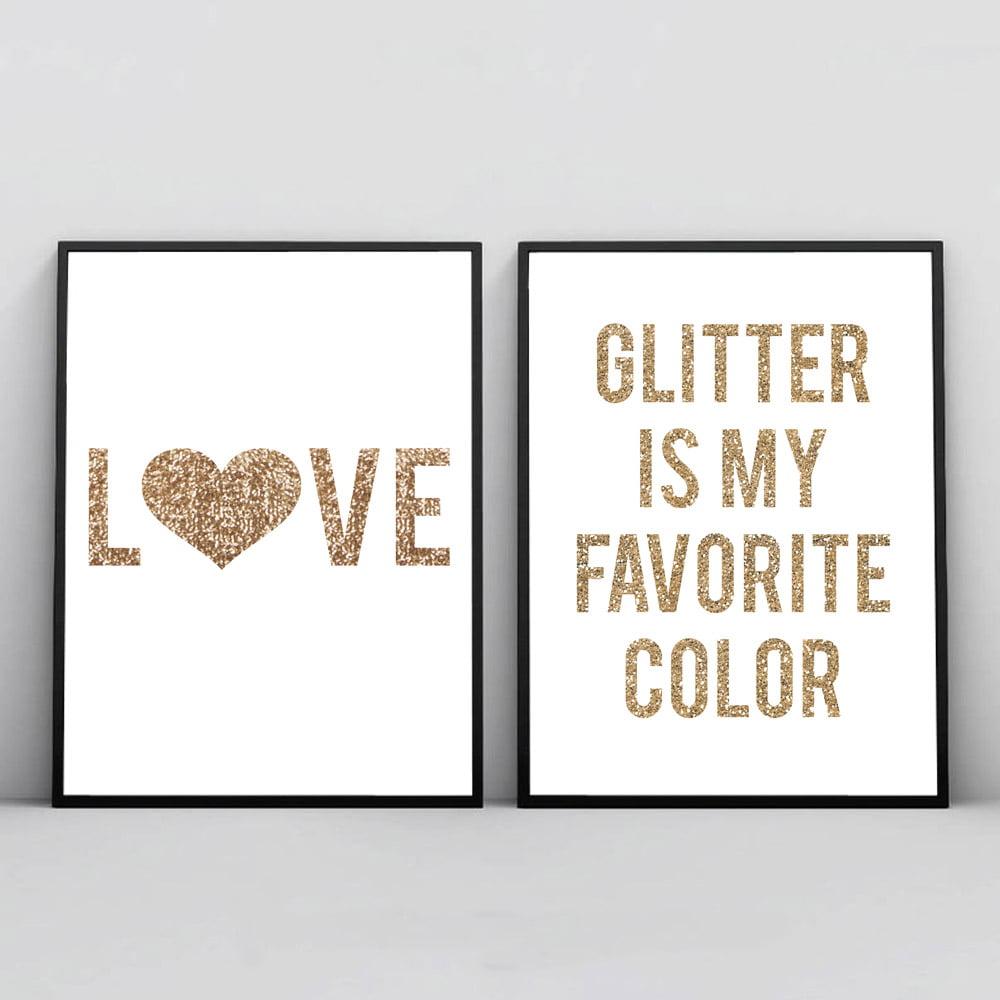 Kit 2 Quadros Para Sala Love Glitter Color