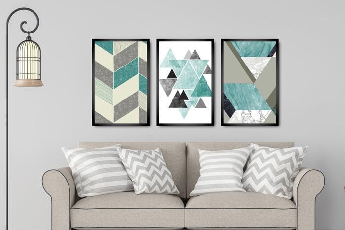 Kit 3 Quadros Decorativos Triângulos
