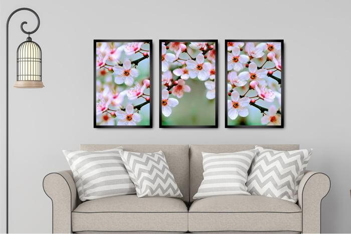 Kit 3 Quadros Flor Magnolia