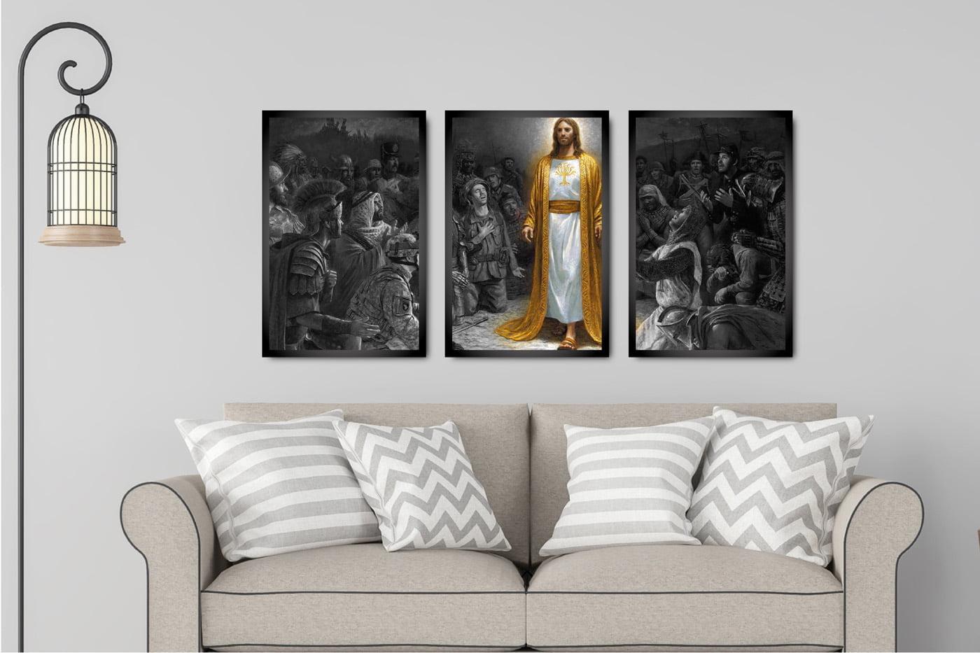 Kit 3 Quadros Jesus Cristo