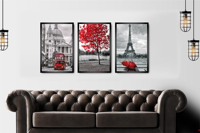 Kit 3 Quadros Decorativos Quarto Decoração Paris Vermelho