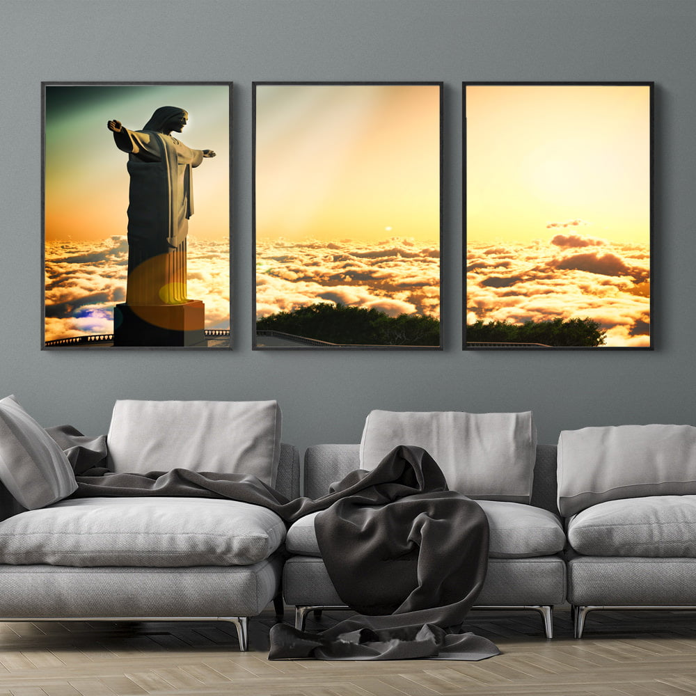 Kit Quadros Decorativos Cristo Céu Nuvens
