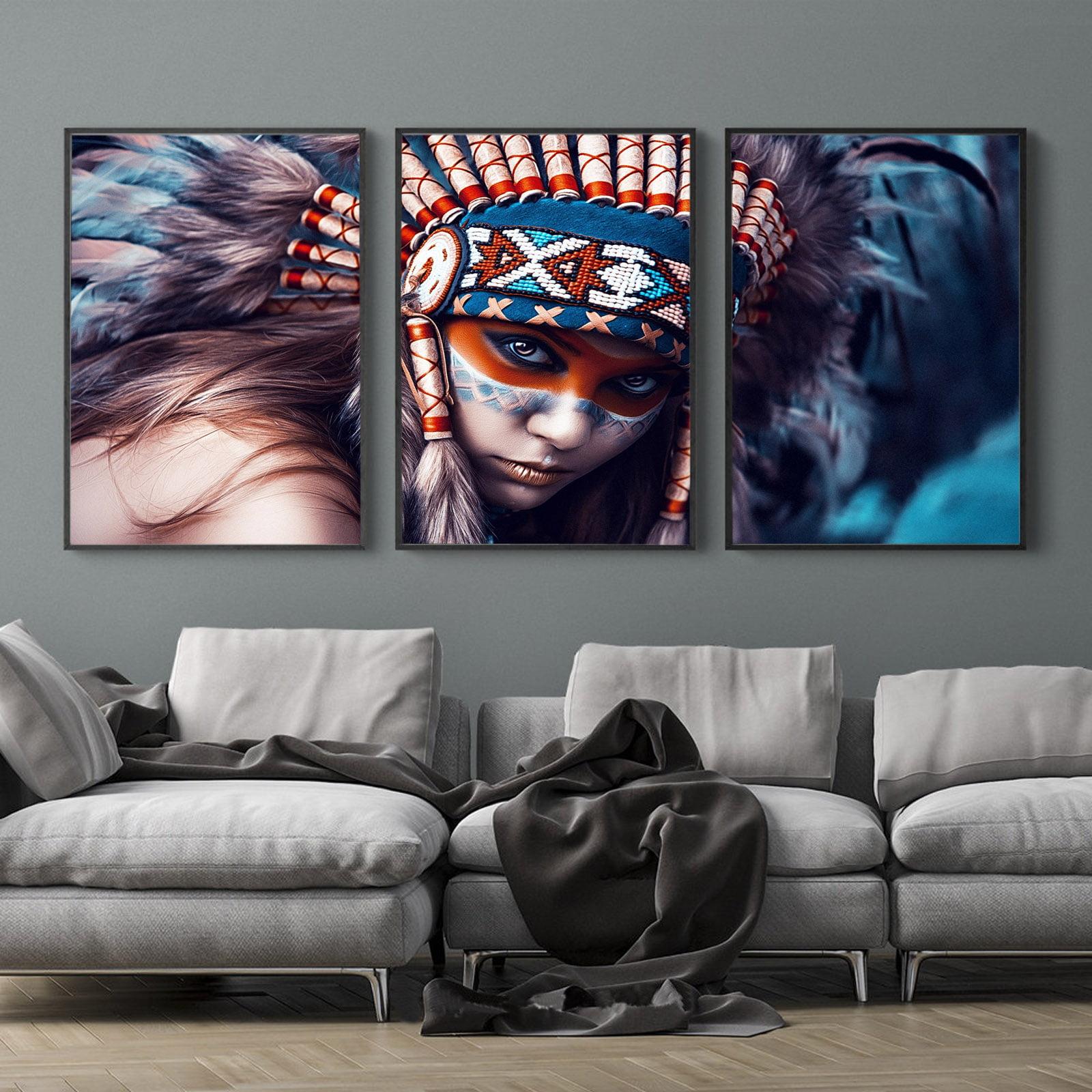 Kit Quadros Decorativos India Apache Americana Sala Quarto