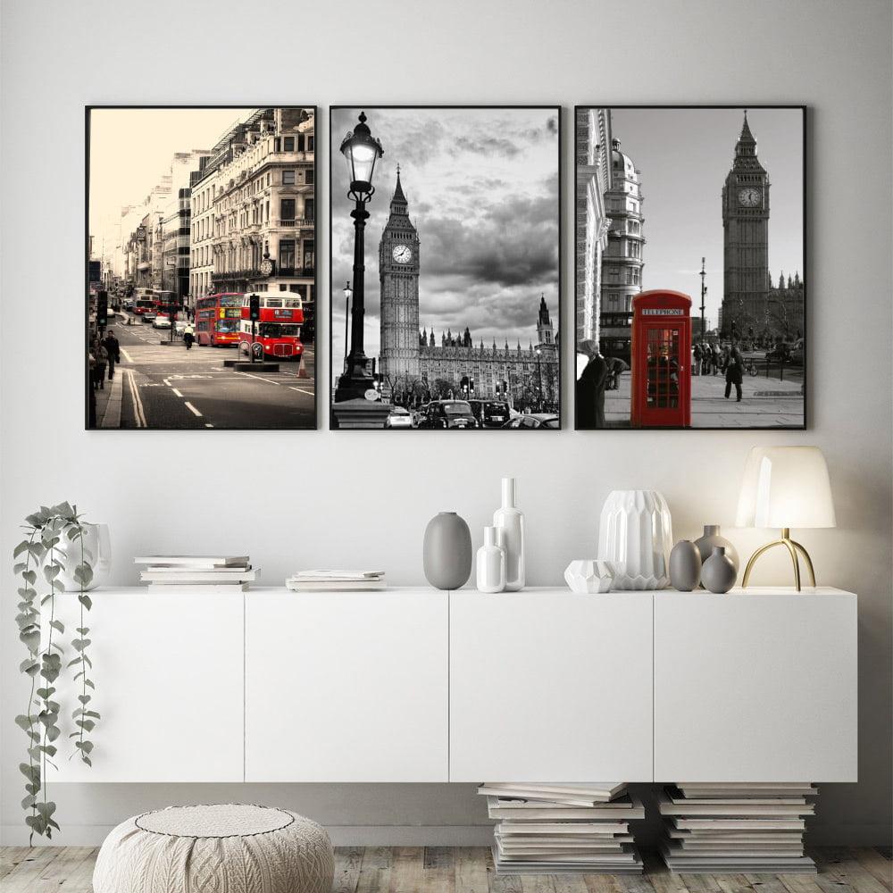 Kit Quadros Decorativos Londres Reino Unido Big Ben