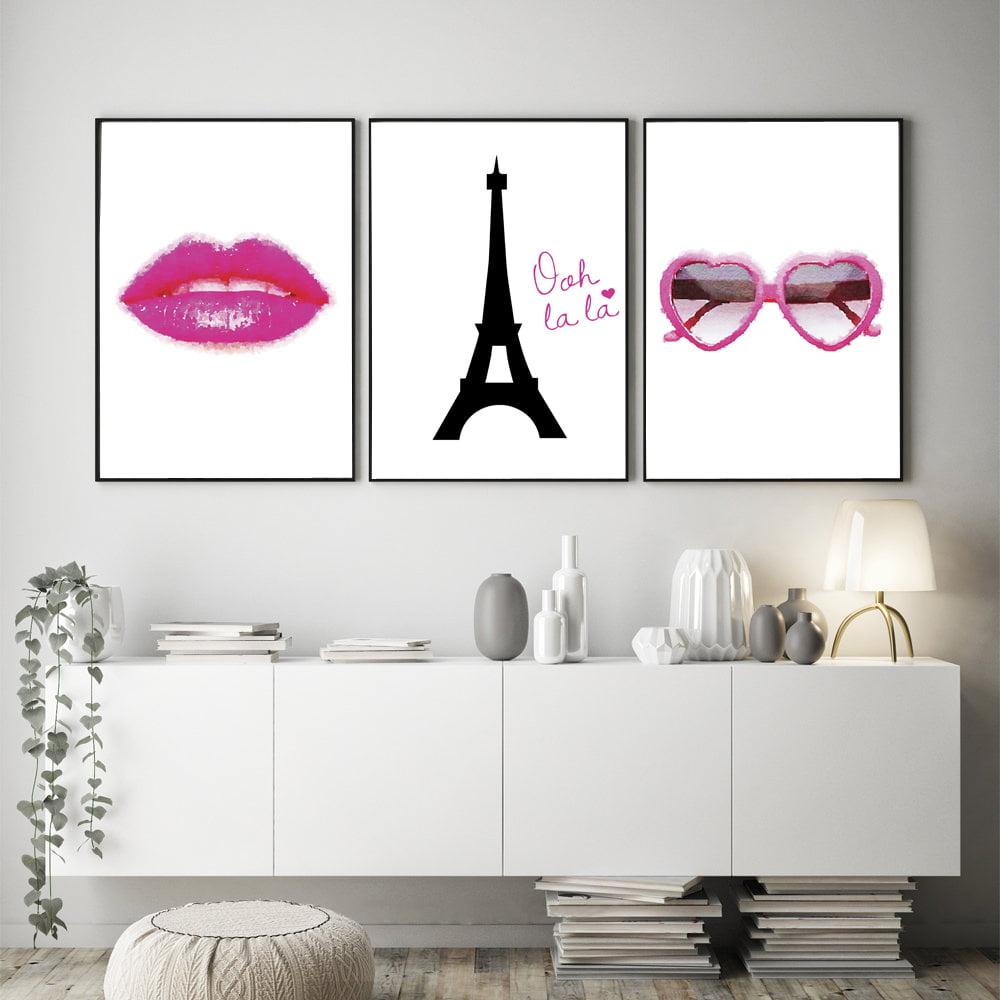 Kit Quadros Decorativos Paris Torre Eiffel Óculos Rosa