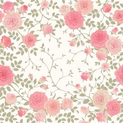 Papel de Parede Floral rosas com ramos