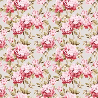 Papel de Parede Estampa de Flores rosas fundo claro
