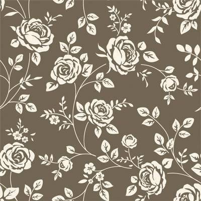 Papel de Parede Estilo Floral com flores claras e fundo marrom