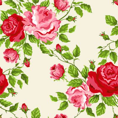 Papel de Parede Floral com rosas vermelhas e rose fundo amarelo claro