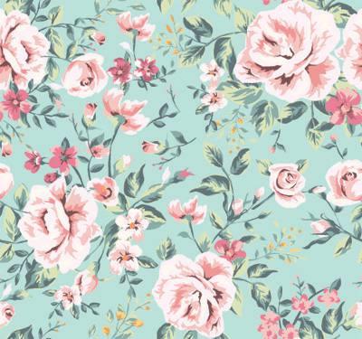 Papel de Parede Classico Floral Rosas e Flores com fundo verde água