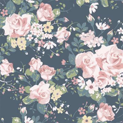 Papel de Parede Floral com Rosas e Flores Fundo Escuro