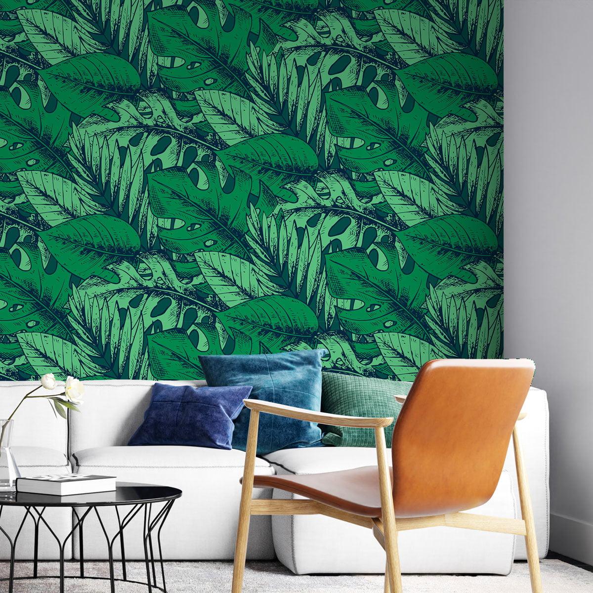 Papel de Parede Floral Folhas Verdes Escuro Folhagens Tropical