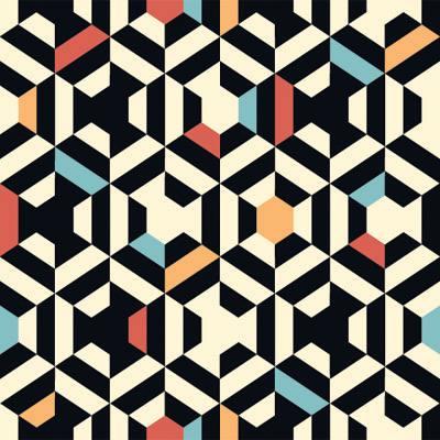 Papel de Parede Pentagono Geometrico Colorido