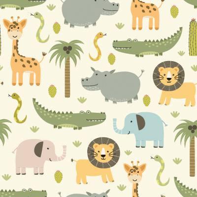 Papel de Parede para quarto menino safari