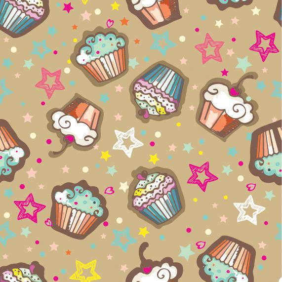 Papel de Parede para meninas cupcakes e estrelas