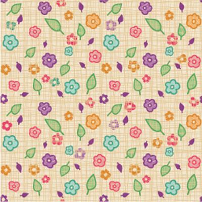 Papel de Parede para quarto de menina folhas e florzinhas