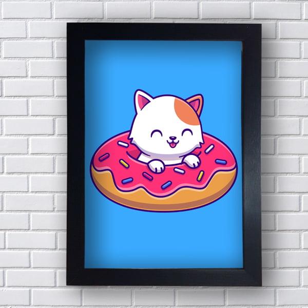 Quadro Decorativo Gatinho Donuts