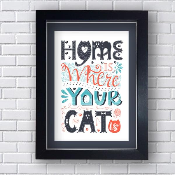 Quadro Decorativo  Home Is Were Your Cat