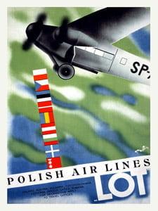 Placa Decorativa Polish Air Lines Cartão Postal PDV572