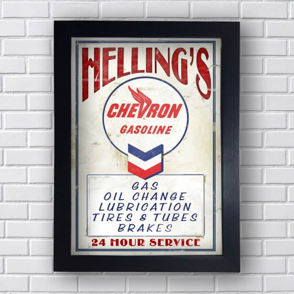Quadro Carro Vintage Chevron Gasoline