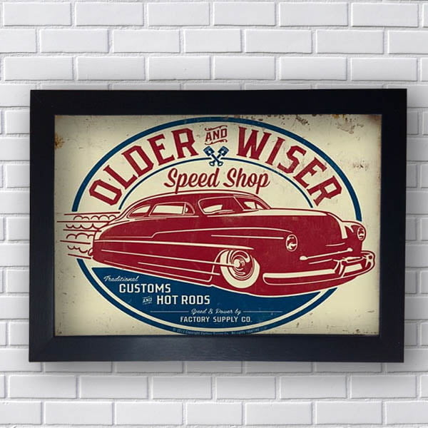 Quadro Carro Vintage Older Wiser