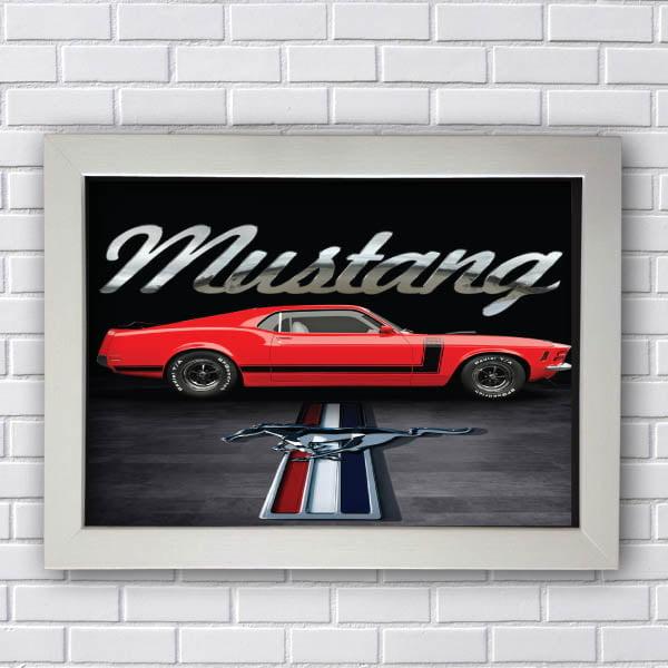 Quadro Vintage Mustang Vermelho