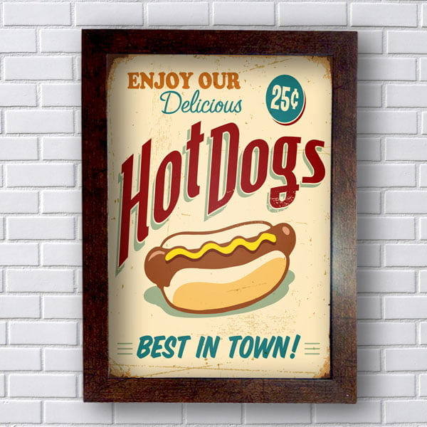 Quadro Decorativo Hot Dogs Best In Town