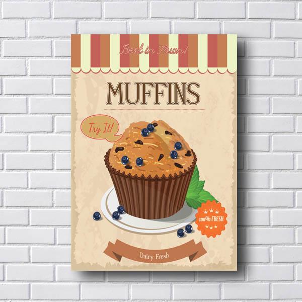 Quadro Decorativo Muffins Dairy Fresh