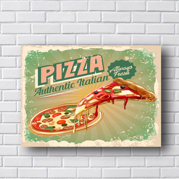 Quadro Decorativo Pizza Authentic Italian