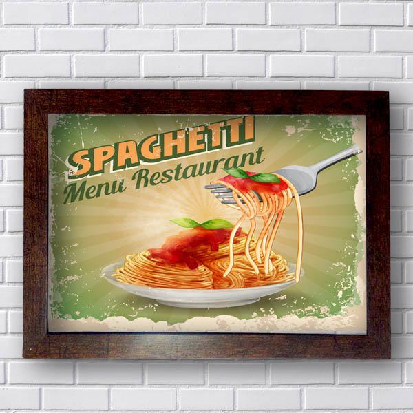 Quadro Decorativo Spaghetti Menu Restaurant