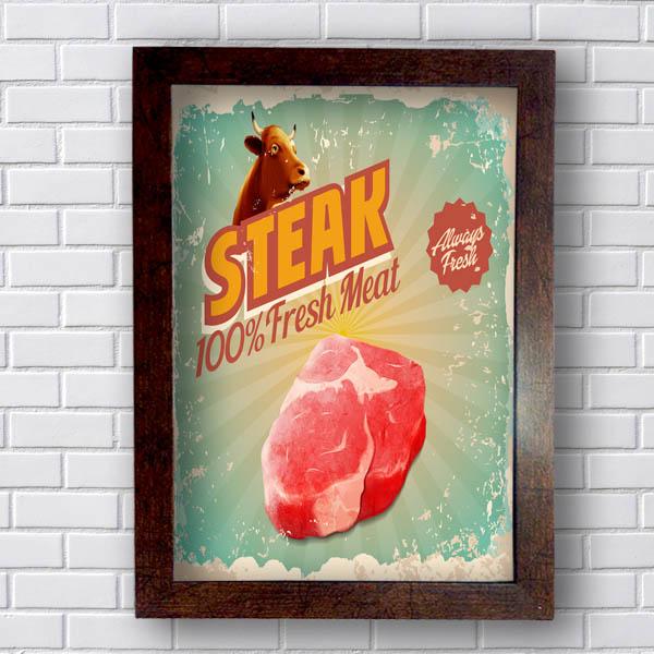 Quadro Decorativo Steak 100%