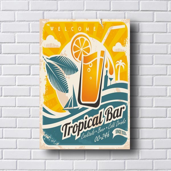 Quadro Vintage Tropical Bar