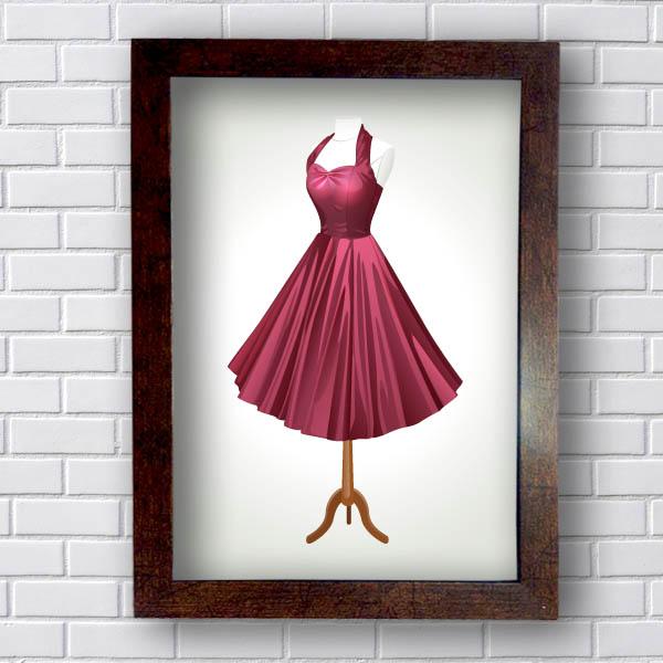 Quadro Decorativo Vestido Retrô